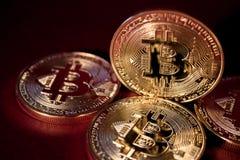 照片在红色背景的金黄Bitcoins 隐藏货币的贸易的概念 免版税库存照片