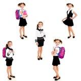 照片微笑的愉快的学校女孩的汇集 免版税库存照片