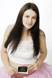 照片怀孕的超声波妇女 图库摄影