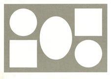 照片或文本的框架从有二面对切的裁减的纸板席子 免版税库存照片
