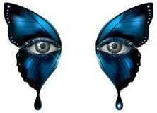 照片拟真的眼睛艺术性的蝴蝶构成关闭 向量例证