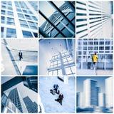 照片拼贴画与现代商业办公楼的在北京 免版税图库摄影