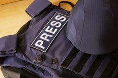 照片新闻工作者的设备 免版税库存照片