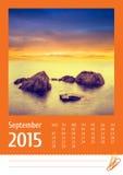 2015年照片日历 9月 图库摄影