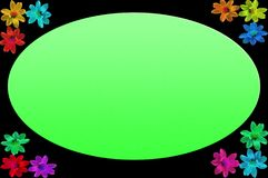 照片框架有黑背景和在角落的五颜六色的花 库存例证