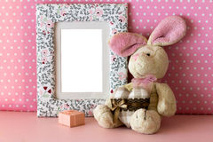 照片框架用女用连杉衬裤兔子 库存照片