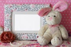 照片框架用女用连杉衬裤兔子 免版税图库摄影
