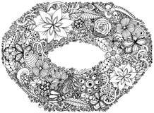 照片框架,花圈,诗歌选,冠,花小环  也corel凹道例证向量 乱画图画 冥想的锻炼 的彩图 库存例证