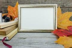 照片框架,葡萄酒照相机,在木桌上的胶卷与vib 库存照片