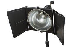照片演播室照明设备,隔绝在白色,与clippin 免版税库存图片