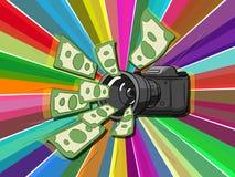 照片照相机和金钱传染媒介例证 图库摄影