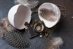 照片照相机塑造了从白色蛋壳孵化的垂饰 免版税库存图片
