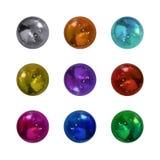 照片现实金属球,发光的球形的传染媒介汇集 库存例证