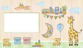 照片的大模型框架在婴孩屋子,水彩例证里 向量例证
