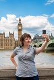 照片的她自己。伦敦,英国 库存图片