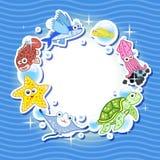 照片的装饰框架与热带明亮的鱼 库存图片