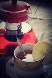 照片茶垂直视图 免版税库存图片
