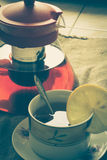 照片茶葡萄酒减速火箭的垂直的视图 库存照片