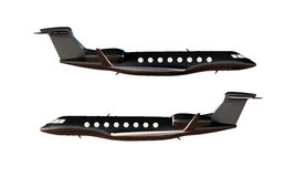 照片黑表面无光泽的豪华普通设计私有飞机模型 清楚的大模型被隔绝的空白的白色背景 事务 免版税库存图片