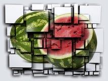 照片3D求作用西瓜的立方 3d翻译 免版税库存照片
