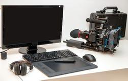 照相机、计算机和片剂录影编辑的 免版税图库摄影