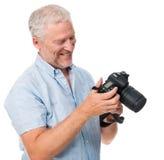 照相机人业余爱好 库存图片