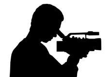 照相机人剪影 免版税库存照片