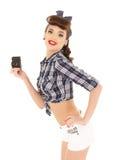 照相机减速火箭的妇女年轻人 免版税库存图片