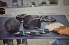 照相机和透镜清洁工具 库存图片