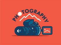 照相机和风景 向量例证
