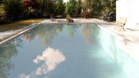 照相机在秋天飞行通过水池在一清楚的好日子 影视素材
