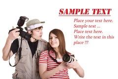 照相机夫妇数字式摄影师 免版税库存图片