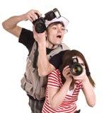 照相机夫妇数字式摄影师 图库摄影