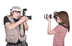 照相机夫妇数字式摄影师 免版税库存照片
