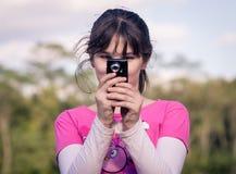照相机女孩藏品年轻人 库存图片