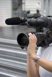 照相机妇女 免版税库存照片