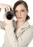 照相机妇女 免版税库存图片