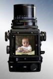 照相机婴儿被拍摄 免版税库存图片