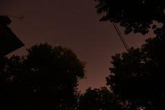 照相机导致了地球风险长的移动循环s星形线索 晚上 30分钟 库存图片