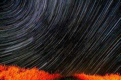 照相机导致了地球风险长的移动循环s星形线索 库存图片