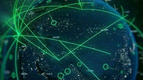 照相机徒升从与数字和连接的数字绿色地球 皇族释放例证