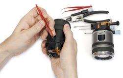 照相机数字式透镜维修服务 免版税图库摄影