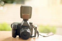照相机有轻的背景 免版税库存图片