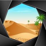 照相机沙漠场面 库存例证