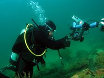 照相机潜水员 库存照片