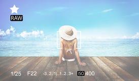 照相机焦点捕获记忆摄影预览概念 库存图片