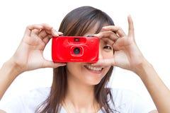 照相机玩具妇女 图库摄影