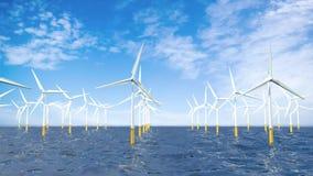 照相机的前面运动从左到右通过形成风力场的一个小组涡轮在海洋中间 库存例证