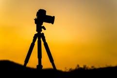 照相机的剪影 免版税库存图片