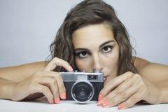 照相机老丝毫妇女 库存照片